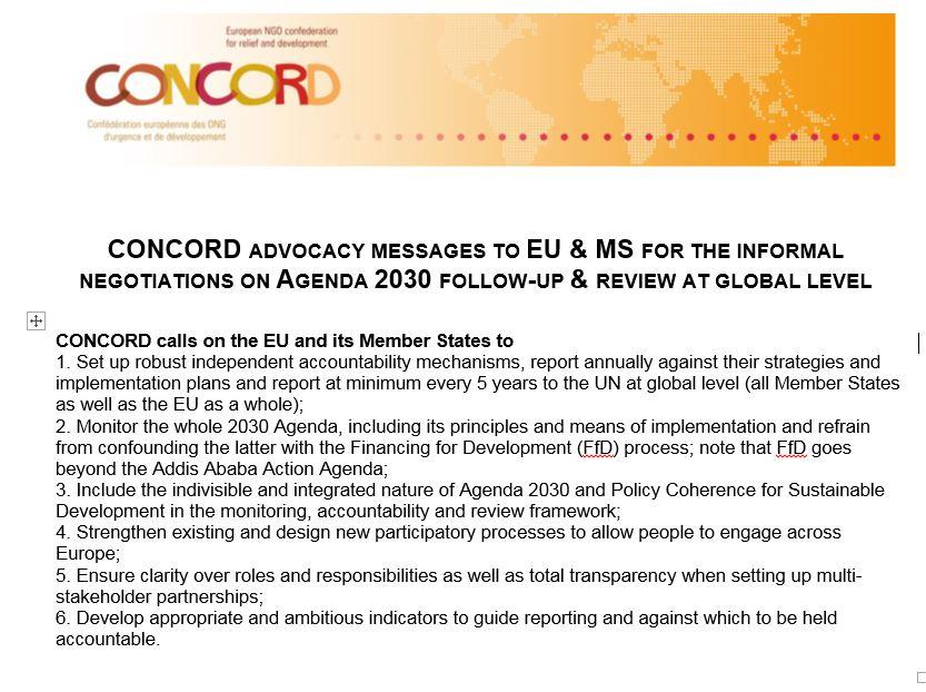 Concord advocacy messages April