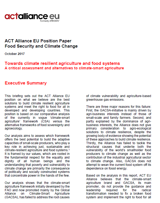 ACT EU Position Paper Food Security and Climate Change October 2017